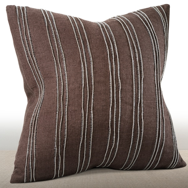 Cirque Espresso Feather and Down-filled Linen 16-inch Pillow with Hand-applied Beaded Leather Cord