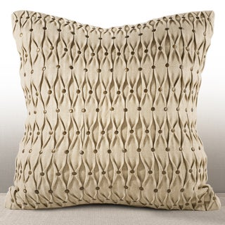 Aries Chambray 16-inch Feather and Down-filled Pillow with Hand-applied Studs
