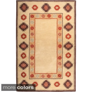 Rizzy Home Southwest Collection Handmade Geometric Wool Red/ Beige Rug (9' x 12')