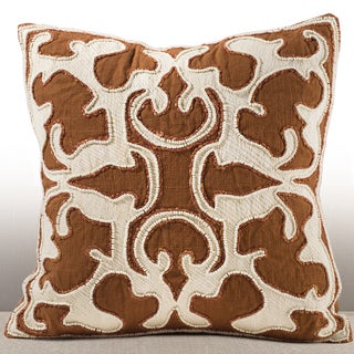 Encanto Cognac Chenille Feather and Down-filled 16-inch Pillow with Beaded Embroidery
