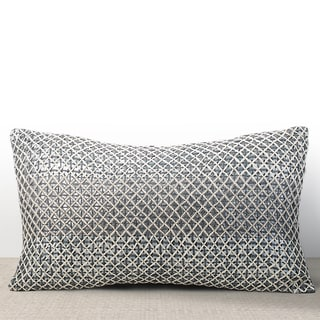 Vivante Mist Sequined Feather and Down-filled Lumbar Pillow with Hand Stitched Embroidery