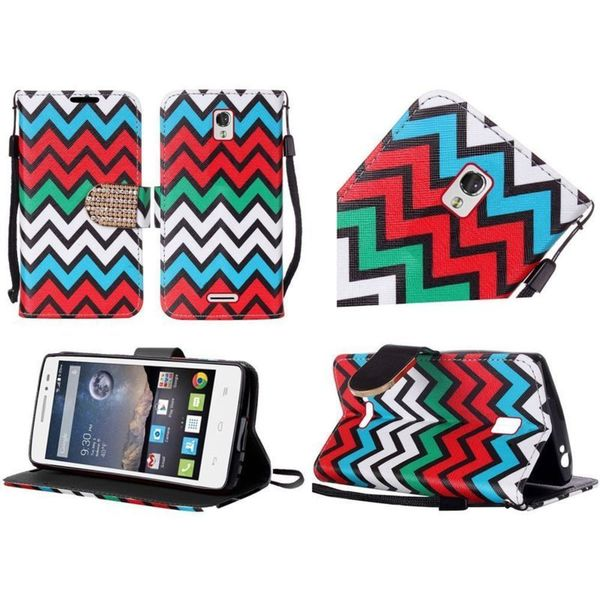 Insten Leather Wallet Flap Pouch Phone Case Cover with Stand/ Lanyard/ Diamond For Alcatel One Touch Pop Astro