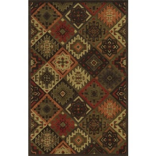 Rizzy Home Southwest Collection Hand-tufted Geometric Wool Brown/ Rust Rug (9' x 12')