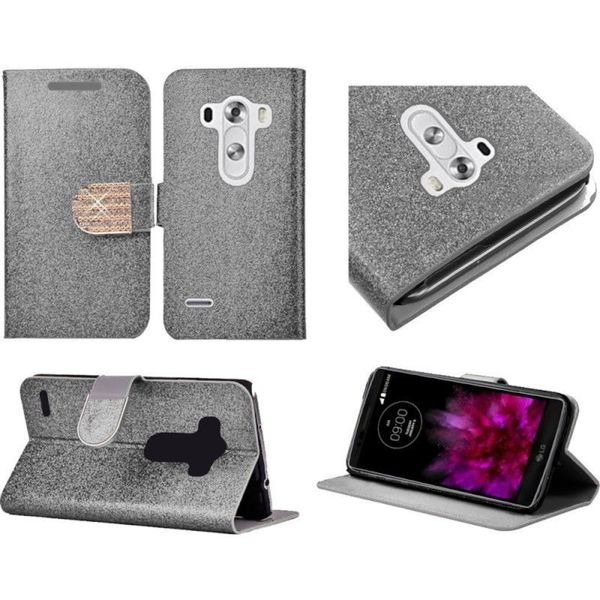 Insten Slim Leather Wallet Flap Pouch Glitter Phone Case Cover with Stand/ Diamond For LG G4