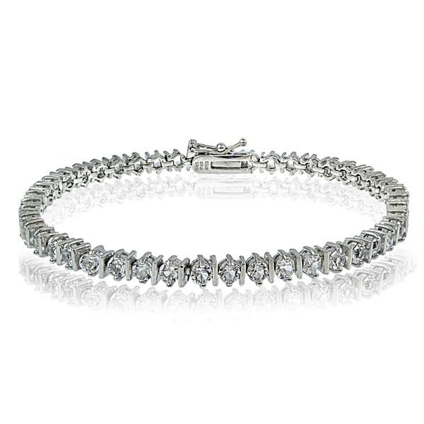 Crystal Ice Sterling Silver Swarovski Elements Classic Illusion Tennis Bracelet