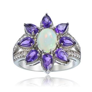 Glitzy Rocks Sterling Silver Ethiopian Opal and African Amethyst Flower Ring