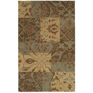 Rizzy Home Southwest Collection Hand-tufted Geometric Wool Green/ Brown Rug (8' x 10')