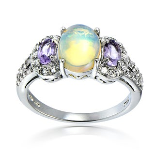 Glitzy Rocks Sterling Silver Ethiopian Opal Amethyst and White Topaz Ring