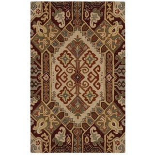 Rizzy Home Southwest Collection Hand-tufted Geometric Wool Beige/ Rust Rug (5' x 8')