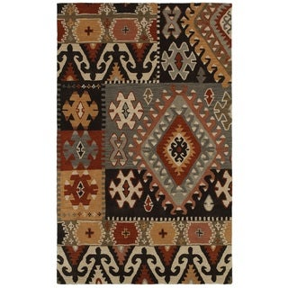 Rizzy Home Southwest Collection Hand-tufted Geometric Wool Grey/ Brown Rug (9' x 12')