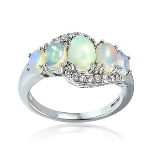 Glitzy Rocks Sterling Silver Ethiopian Opal and White Topaz Twist Ring