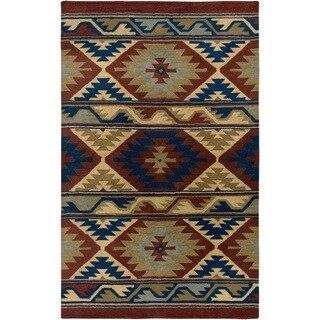 Rizzy Home Southwest Collection Hand-tufted Geometric Wool Rust/ Beige Rug (9' x 12')