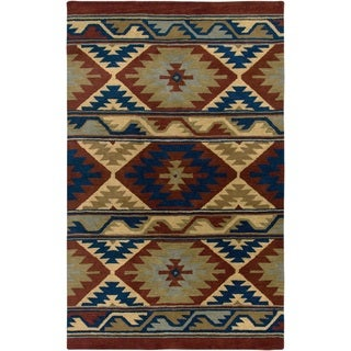 Rizzy Home Southwest Collection Handmade Geometric Wool Beige/ Rust Rug (5' x 8')
