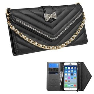 Insten Slim Leather Wallet Flap Pouch Phone Case Cover Chain with Diamond For Apple iPhone 6