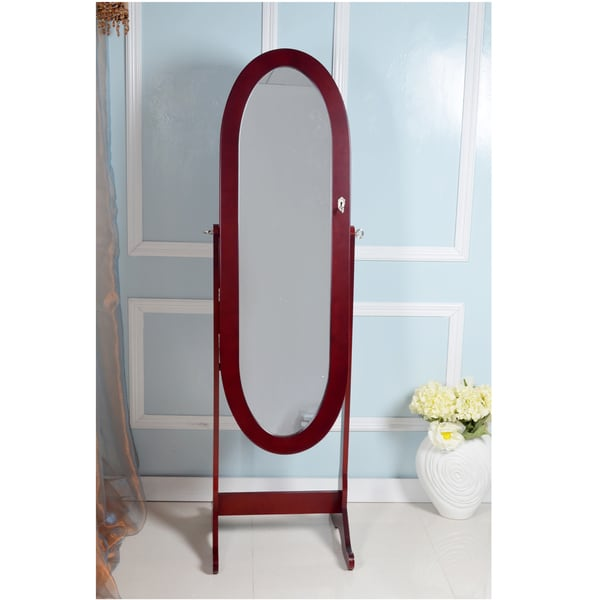 Vess Contemporary Brown Floor Standing Oval Wooden Mirror