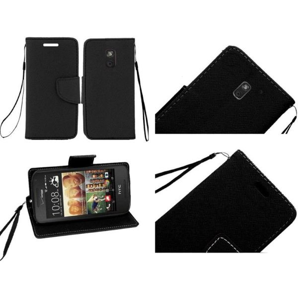 Insten Slim Leather Wallet Flap Pouch Phone Case Cover with Stand/ Lanyard For HTC Desire 612