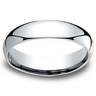 18k White Gold Men's 5mm Comfort-Fit Wedding Band