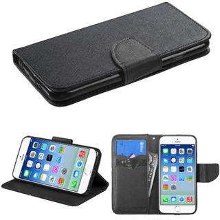 Insten Black Leather Phone Case Cover with Stand/ Wallet Flap Pouch For Apple iPhone 6