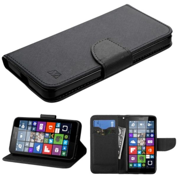 Insten Black Leather Phone Case Cover with Stand/ Wallet Flap Pouch For Microsoft Lumia 640 Metro PCS/ 640 T-mobile