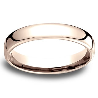 14k Rose Gold Men's Low-dome 4.5mm Comfort-Fit Wedding Band