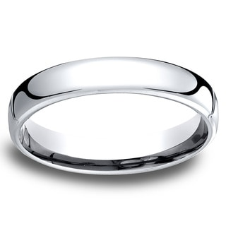 14k White Gold Men's Low-dome 4.5mm Comfort-Fit Wedding Band