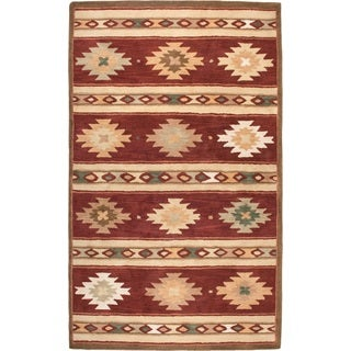Rizzy Home Southwest Collection Hand-tufted Geometric Wool Red/ Beige Rug (9' x 12')