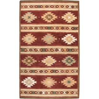 Rizzy Home Southwest Collection Hand-crafted Geometric Wool Red/ Beige Rug (8' x 10')