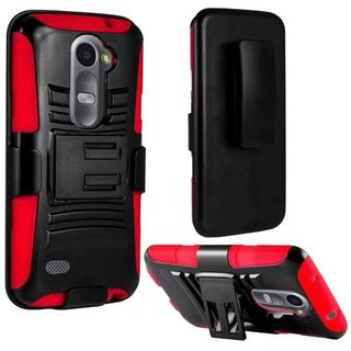 Insten Slim Hard PC/ Soft Silicone Dual Layer Hybrid Phone Case Cover with Holster For LG Leon