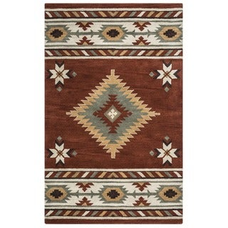 Ryder Collection Hand-tufted Geometric Wool Red/ White Rug (9' x 12') - 9' x 12'
