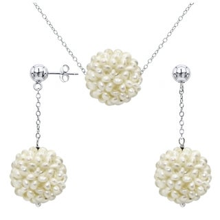 DaVonna Sterling Silver White Snowball Freshwater Pearl Necklace Earring Set