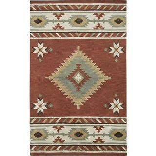 Rizzy Home Southwest Collection Hand-tufted Geometric Wool Red/ White Rug (5' x 8')