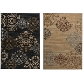 Rizzy Home Carrington Collection Power-loomed Abstract Black/ Beige Rug (7'10 x 10'10)