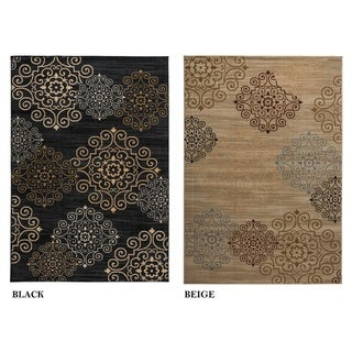 Rizzy Home Carrington Collection Power-loomed Abstract Black/ Beige Rug (6'7 x 9'6)