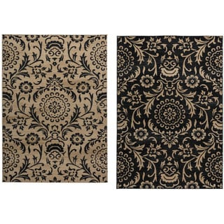 Rizzy Home Carrington Collection Power-loomed Trellis Design Black/ Beige Rug (7'10 x 10'10)
