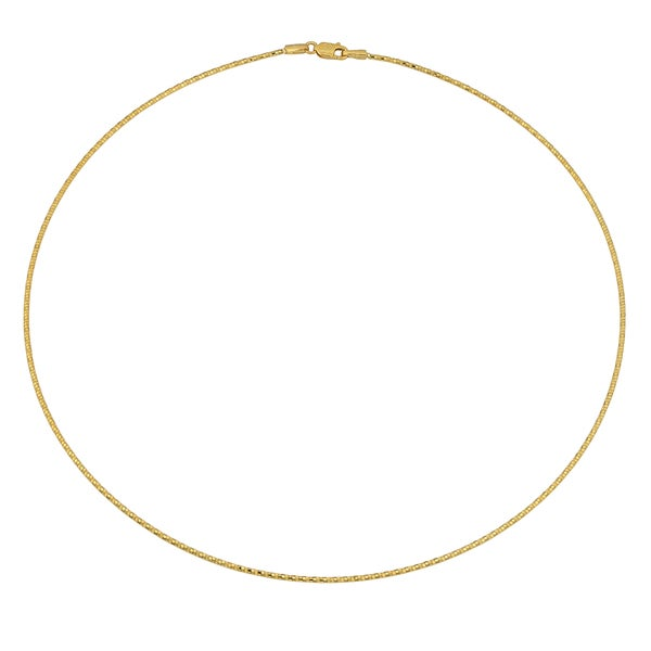 Fremada 14k Yellow Gold Diamond-cut Snake Omega Necklace (16 inches)