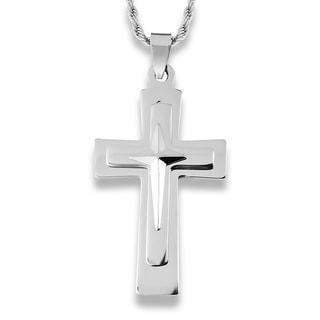 Men's Stainless Steel Triple Layer Cross Pendant