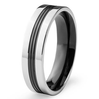 Men's Stainless Steel and Blackplated Center Groove Ring