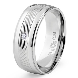 Men's Stainless Steel Cubic Zirconia Diagionally Striped Center Band