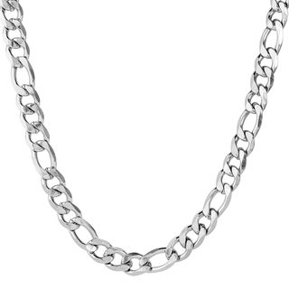 Men's Stainless Steel Beveled Figaro Chain Necklace (12 mm)