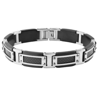 Crucible Blackplated Stainless Steel Silvertone Framed Screw Accents Carbon Fiber Inlay Link Bracelet
