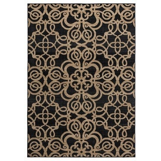 Rizzy Home Carrington Collection Machine-Made Trellis Black Rug (6'7 x 9'6)