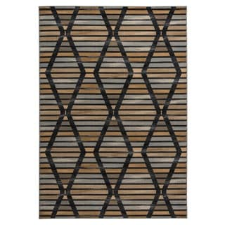Rizzy Home Carrington Collection Power-loomed Geometric Grey/ Black Rug (7'10 x 10'10)