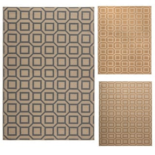 Rizzy Home Millington Collection Power-loomed Geometric Ivory/ Grey/ Gold Rug (6'7 x 9'6)