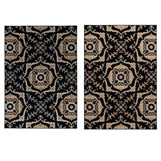 Rizzy Home Millington Collection Power-loomed Geometric Black/ Grey/ Gold Rug (7'10 x 10'10)