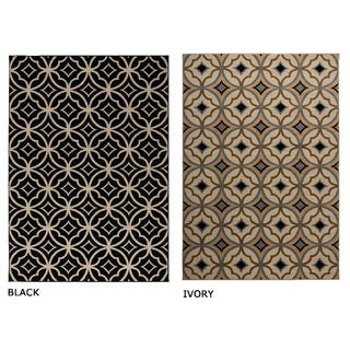 Rizzy Home Millington Collection Power-loomed Geometric Ivory/ Black Rug (6'7 x 9'6)