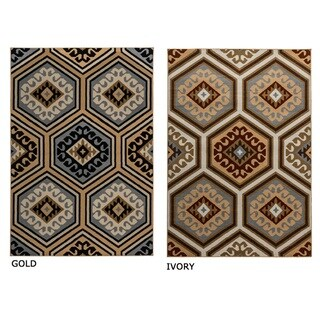 Rizzy Home Millington Collection Power-loomed Geometric Ivory/ Gold Rug (7'10 x 10'10)