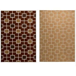 Rizzy Home Millington Collection Power-loomed Geometric Gold/ Rust Rug (6'7 x 9'6)