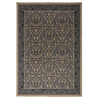 Rizzy Home Millington Collection Power-loomed Border Ivory/ Grey Rug (6'7 x 9'6)
