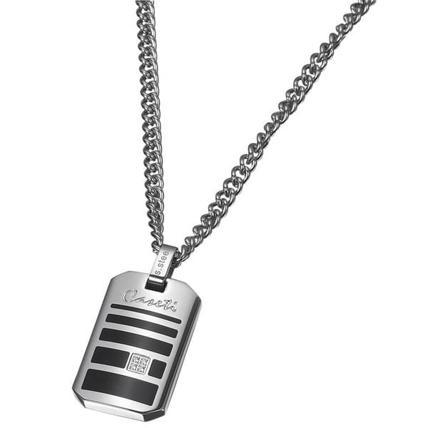 Caseti Sunderland Stainless Steel and Black Enamel Pendant with Chain