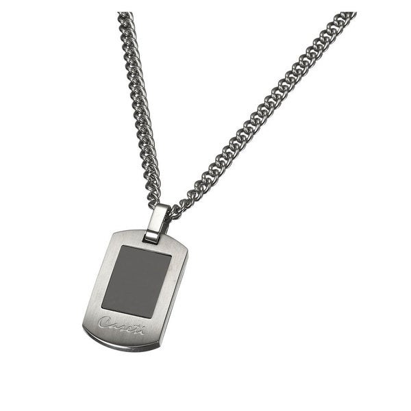 Caseti Turbo Stainless Steel and Black Onyx Pendant with Chain